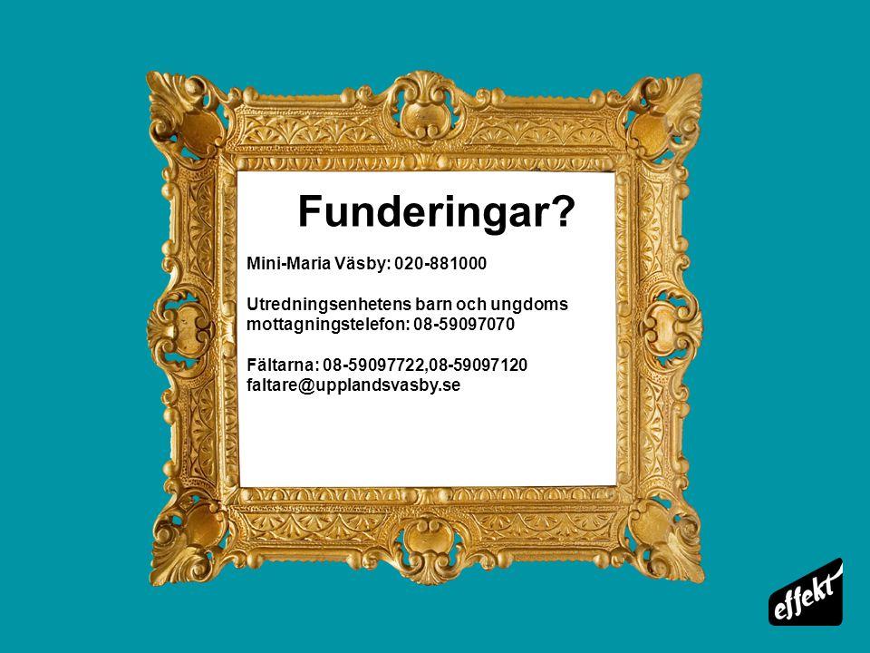 Funderingar? Mini-Maria Väsby: 020-881000 Utredningsenhetens barn och ungdoms mottagningstelefon: 08-59097070 Fältarna: 08-59097722,08-59097120 faltar