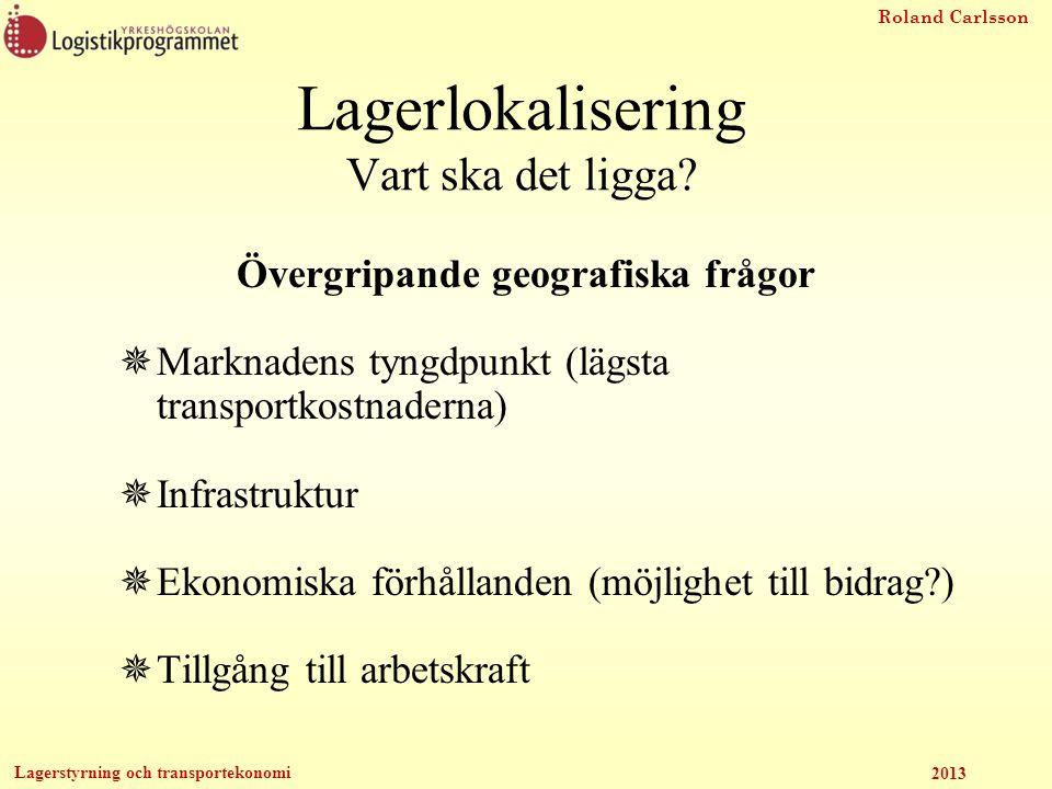 Roland Carlsson Lagerstyrning och transportekonomi 2013 Lagerlokalisering Vart ska det ligga? Övergripande geografiska frågor  Marknadens tyngdpunkt