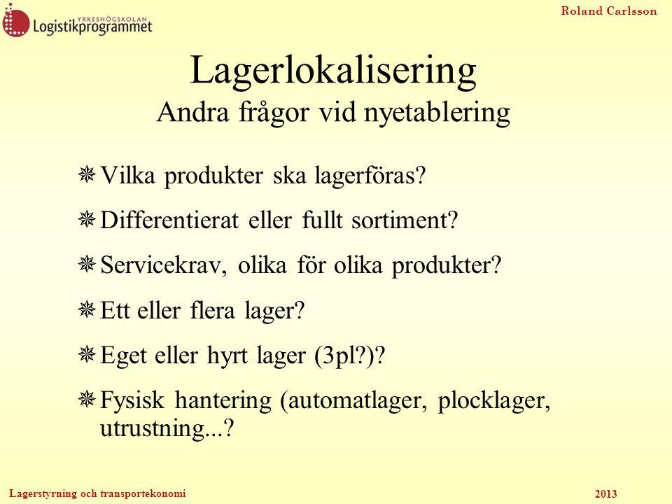 Roland Carlsson Lagerstyrning och transportekonomi 2013 Lagerlokalisering Andra frågor vid nyetablering  Vilka produkter ska lagerföras?  Differenti