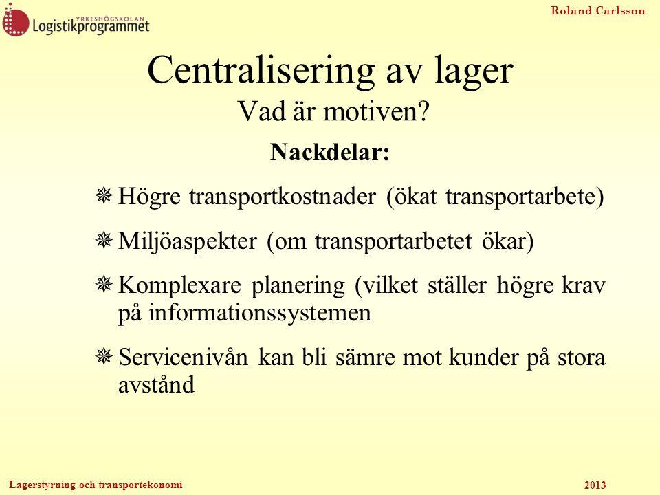Roland Carlsson Lagerstyrning och transportekonomi 2013 Fördelar:  En enkel metod att använda  Bra att använda som överslag Nackdelar  Transportkostnaderna antas vara linjära mot avståndet  Endast en lokalisering kan beräknas  Eventuella restriktioner kan inte tas med Vart ska lagret vara.