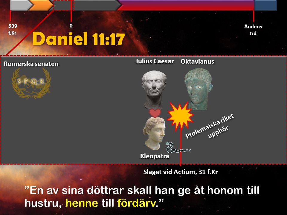 Daniel 11:17 539 f.Kr Ändens tid 0 Romerska senaten Ptolemaiska riket upphör OktavianusOktavianus Julius Caesar KleopatraKleopatra Slaget vid Actium,