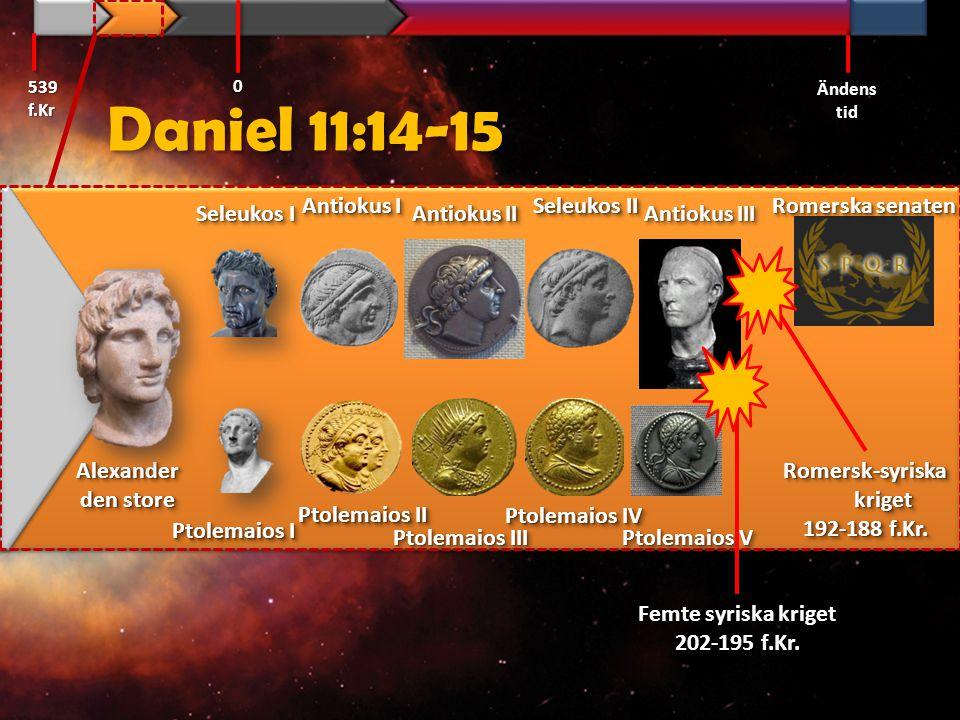 Daniel 11:16 … Han [Rom] skall sätta sig fast i det härliga landet [Israel], och förstörelse skall komma genom hans hand. 1981 års översättning 539 f.Kr Ändens tid 0
