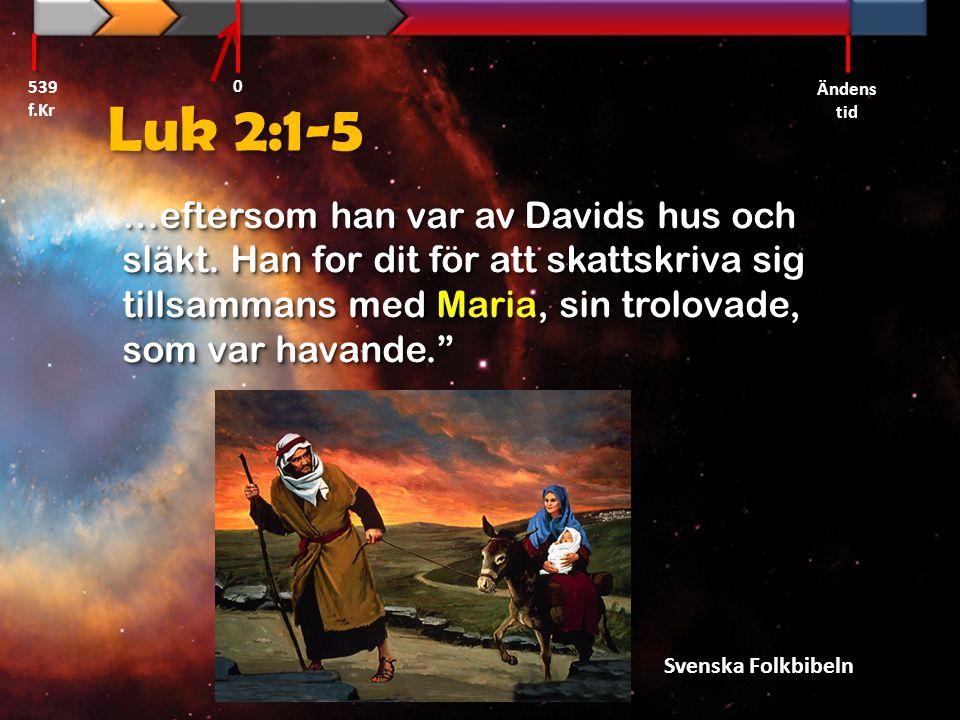 """Luk 2:1-5 …eftersom han var av Davids hus och släkt. Han for dit för att skattskriva sig tillsammans med Maria, sin trolovade, som var havande."""" Svens"""