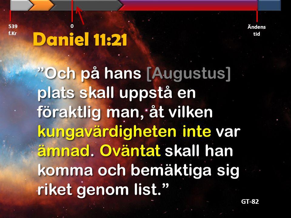 """Daniel 11:21 """"Och på hans [Augustus] plats skall uppstå en föraktlig man, åt vilken kungavärdigheten inte var ämnad. Oväntat skall han komma och bemäk"""