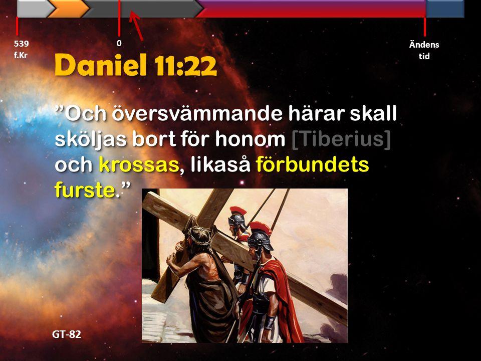 """Daniel 11:22 """"Och översvämmande härar skall sköljas bort för honom [Tiberius] och krossas, likaså förbundets furste."""" """"Och översvämmande härar skall s"""