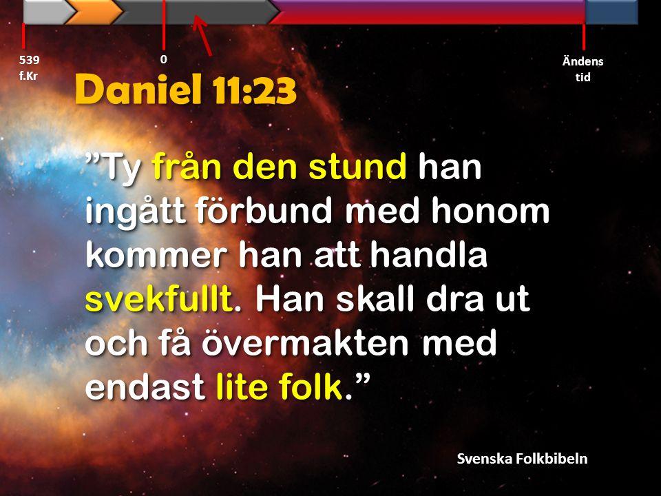 """Daniel 11:23 """"Ty från den stund han ingått förbund med honom kommer han att handla svekfullt. Han skall dra ut och få övermakten med endast lite folk."""