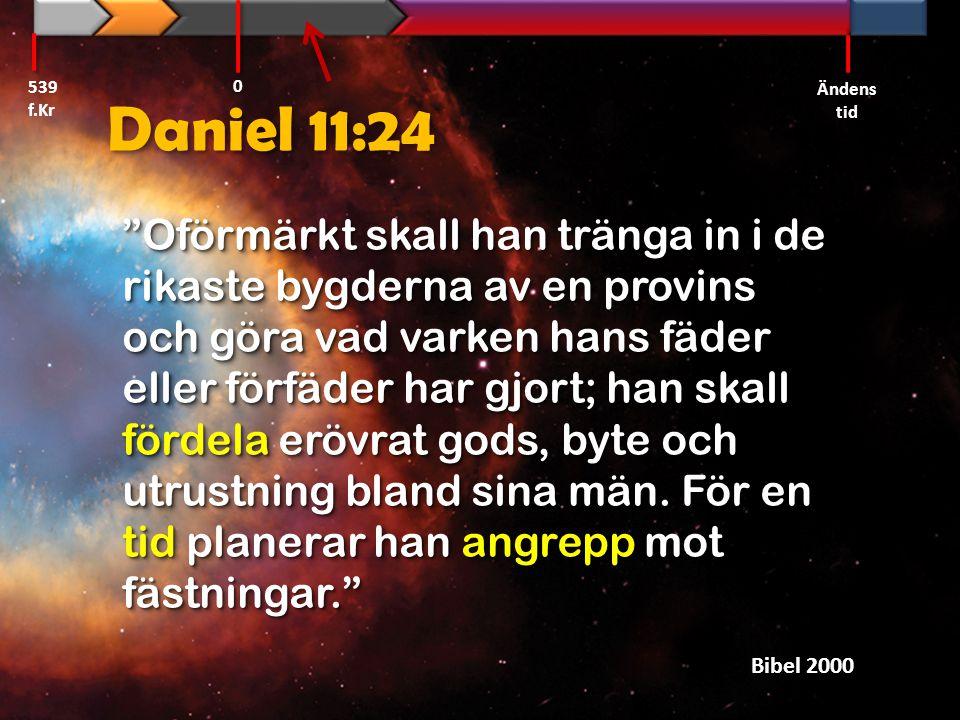 """Daniel 11:24 """"Oförmärkt skall han tränga in i de rikaste bygderna av en provins och göra vad varken hans fäder eller förfäder har gjort; han skall för"""