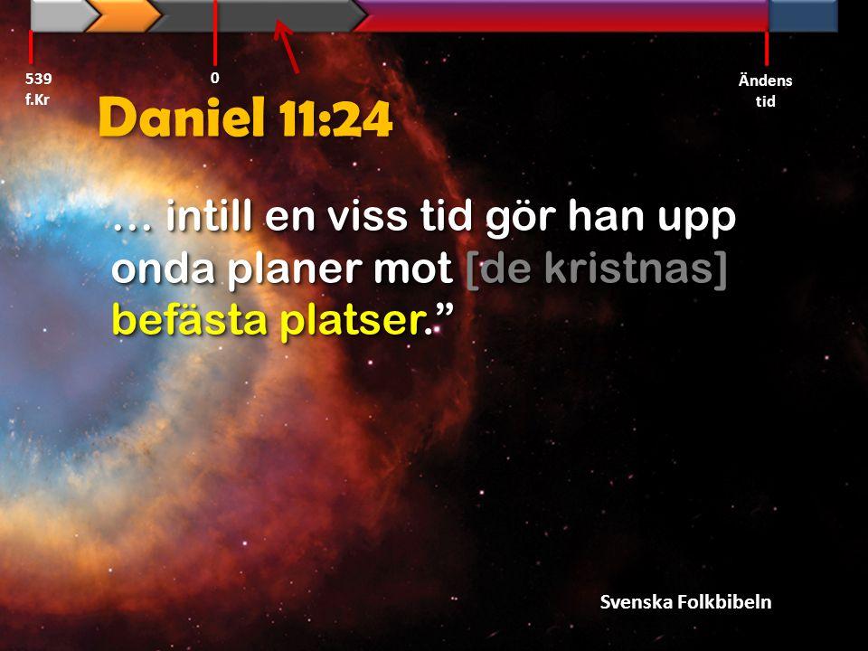 """Daniel 11:24 … intill en viss tid gör han upp onda planer mot [de kristnas] befästa platser."""" 539 f.Kr Ändens tid 0 Svenska Folkbibeln"""