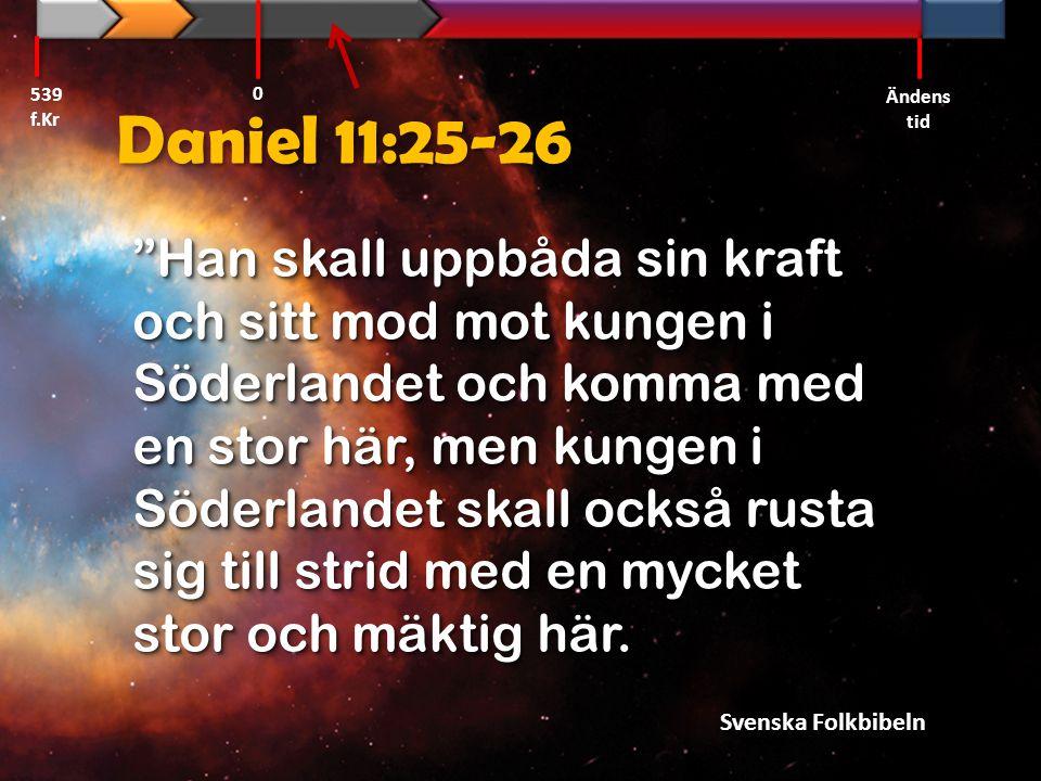 """Daniel 11:25-26 """"Han skall uppbåda sin kraft och sitt mod mot kungen i Söderlandet och komma med en stor här, men kungen i Söderlandet skall också rus"""