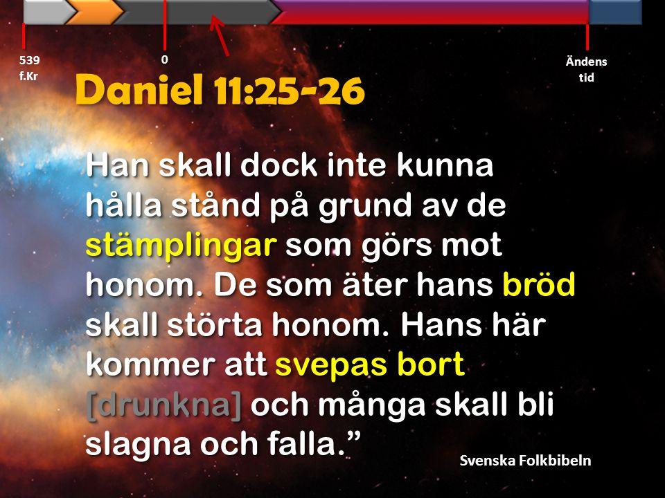 Daniel 11:25-26 Han skall dock inte kunna hålla stånd på grund av de stämplingar som görs mot honom. De som äter hans bröd skall störta honom. Hans hä