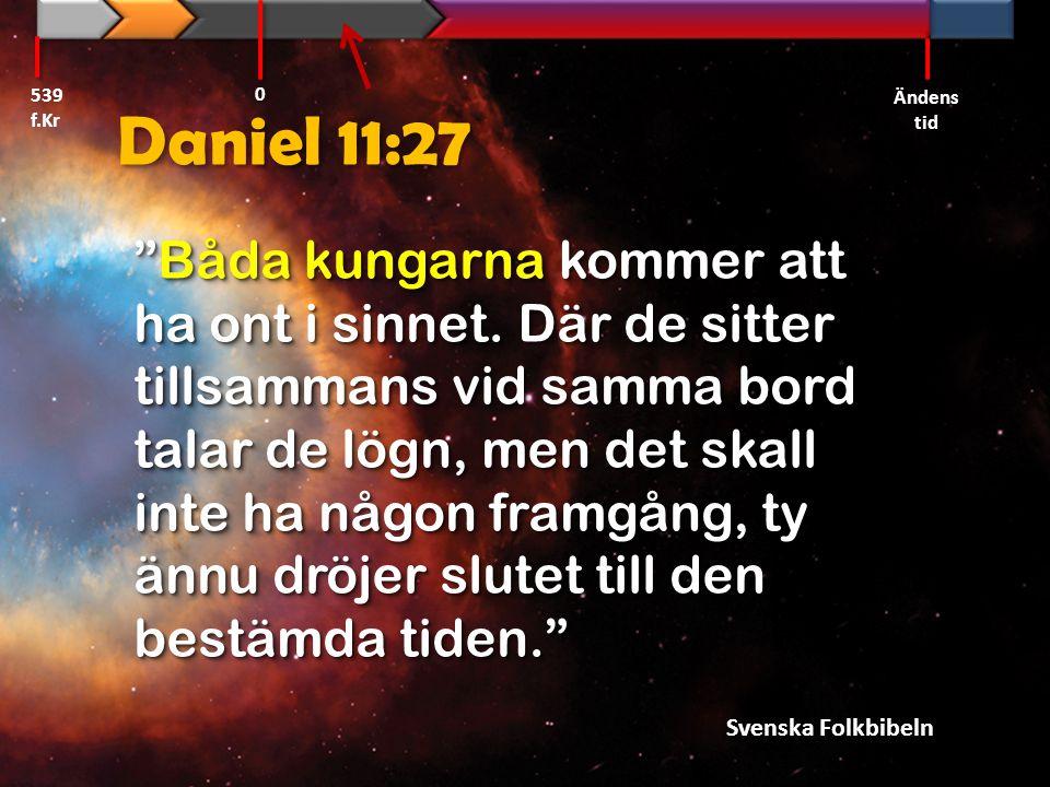"""Daniel 11:27 """"Båda kungarna kommer att ha ont i sinnet. Där de sitter tillsammans vid samma bord talar de lögn, men det skall inte ha någon framgång,"""