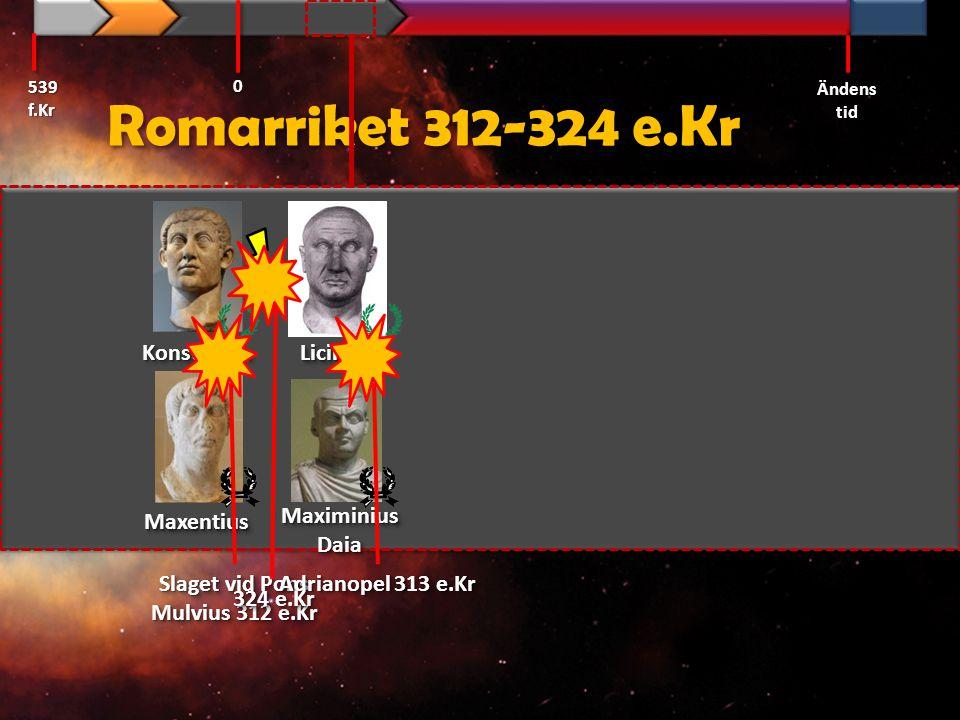 Romarriket 312-324 e.Kr 539 f.Kr Ändens tid 0 LiciniusLicinius KonstantinKonstantin MaximiniusDaiaMaximiniusDaia MaxentiusMaxentius Slaget vid Pons Mu