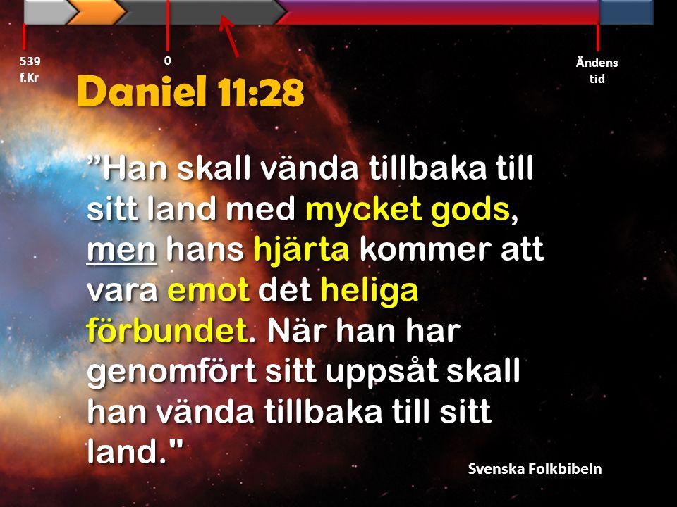 """Daniel 11:28 """"Han skall vända tillbaka till sitt land med mycket gods, men hans hjärta kommer att vara emot det heliga förbundet. När han har genomför"""