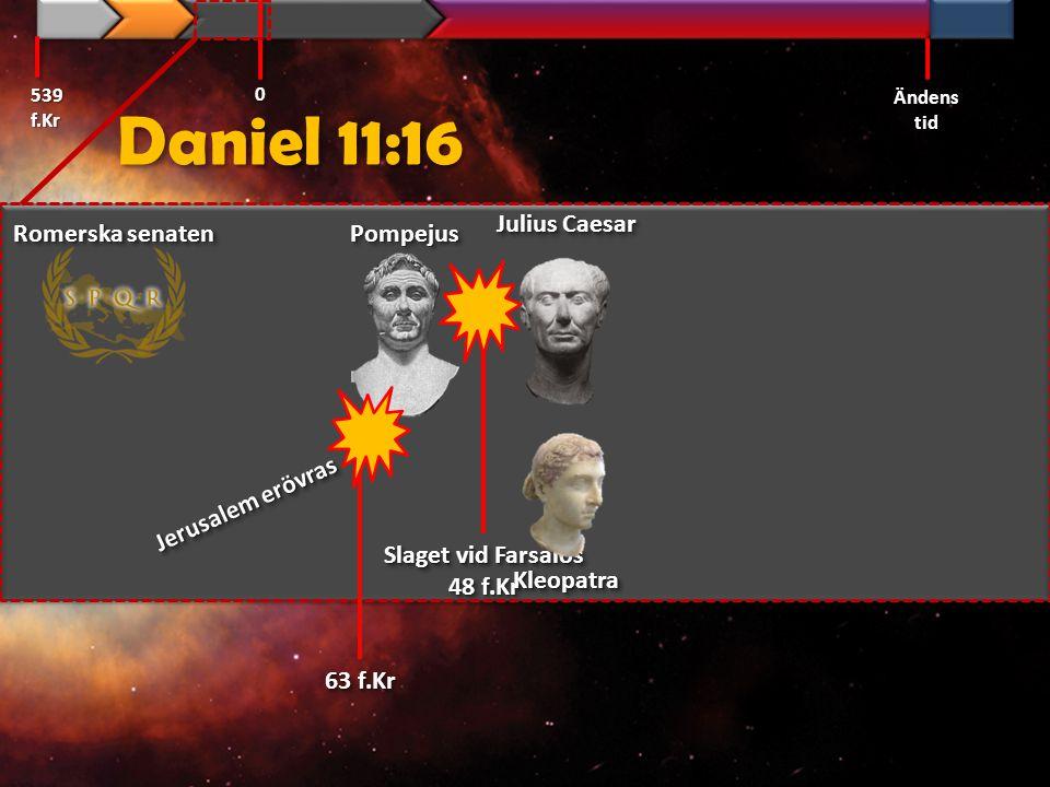 Daniel 11:16 539 f.Kr Ändens tid 0 63 f.Kr PompejusPompejus Romerska senaten Julius Caesar Slaget vid Farsalos 48 f.Kr Slaget vid Farsalos 48 f.Kr Kle