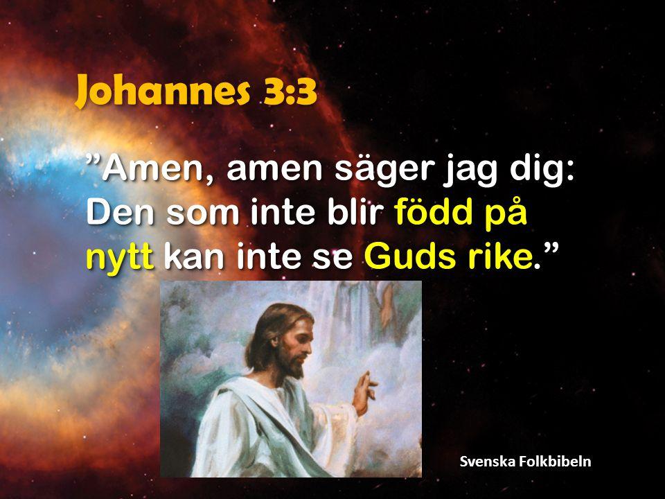 """Johannes 3:3 """"Amen, amen säger jag dig: Den som inte blir född på nytt kan inte se Guds rike."""" Svenska Folkbibeln"""