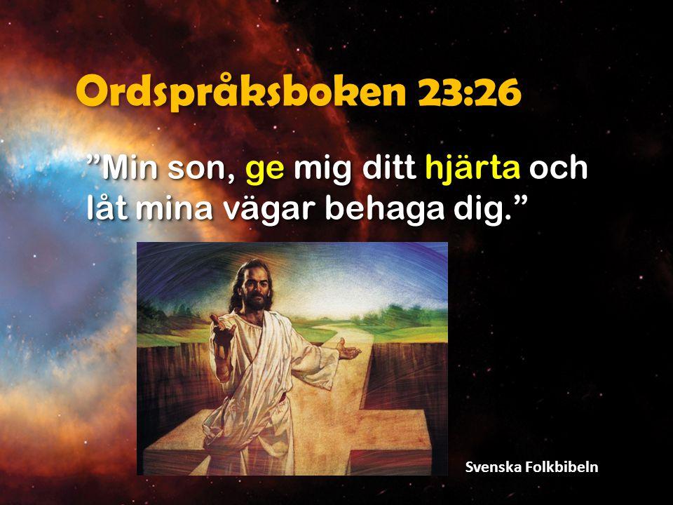"""Ordspråksboken 23:26 """"Min son, ge mig ditt hjärta och låt mina vägar behaga dig."""" Svenska Folkbibeln"""