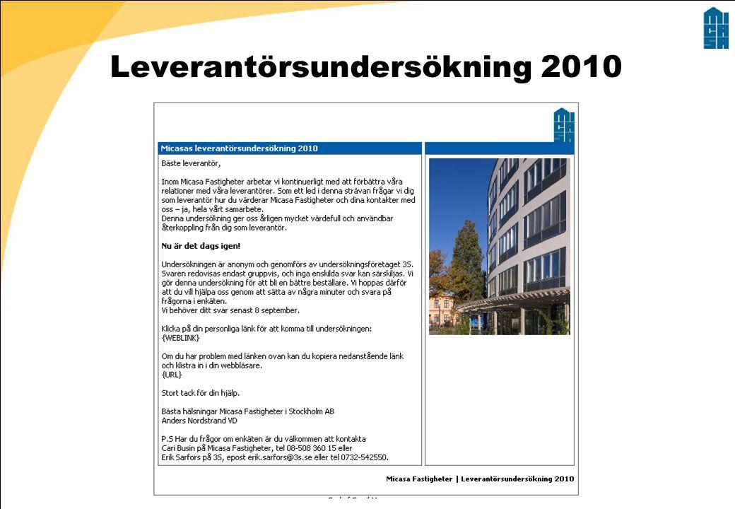 Leverantörsundersökning 2010 Erik Sarfors, 16 december 2009