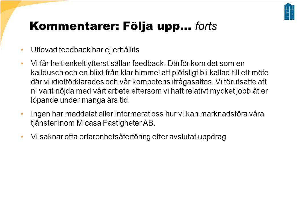 Kommentarer: Följa upp… forts •Utlovad feedback har ej erhållits •Vi får helt enkelt ytterst sällan feedback.