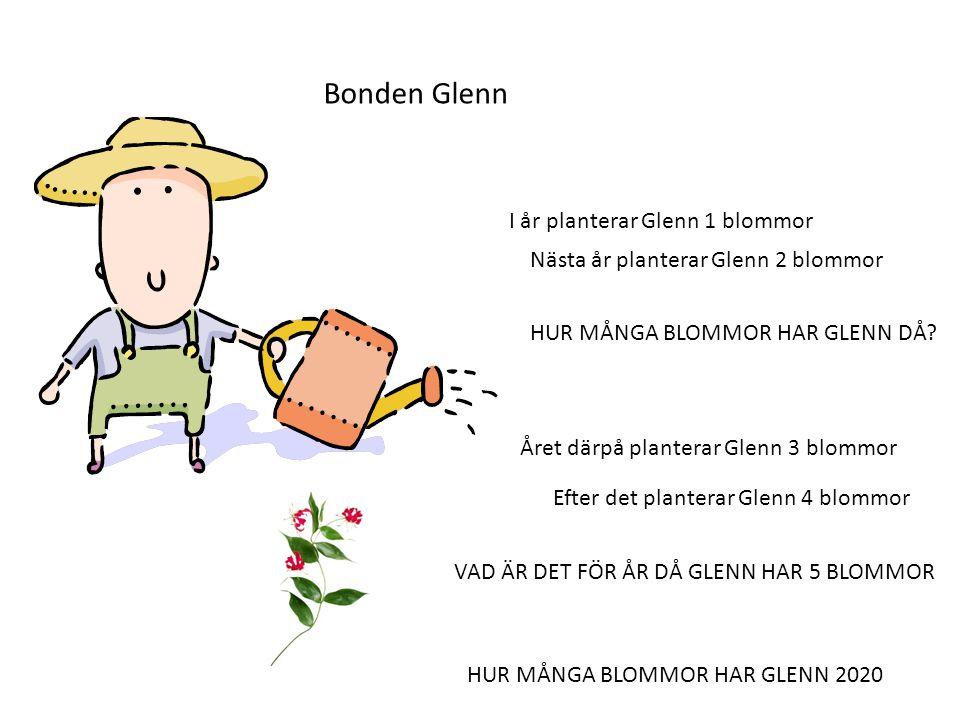 Bonden Glenn I år planterar Glenn 1 blommor Nästa år planterar Glenn 2 blommor HUR MÅNGA BLOMMOR HAR GLENN DÅ.