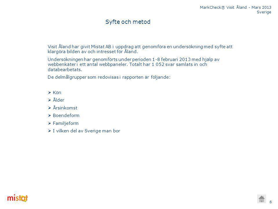 MarkCheck® Visit Åland - Mars 2013 Sverige 6 Visit Åland har givit Mistat AB i uppdrag att genomföra en undersökning med syfte att klargöra bilden av och intresset för Åland.