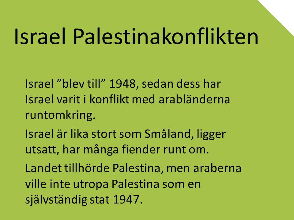 """Israel Palestinakonflikten Israel """"blev till"""" 1948, sedan dess har Israel varit i konflikt med arabländerna runtomkring. Israel är lika stort som Smål"""