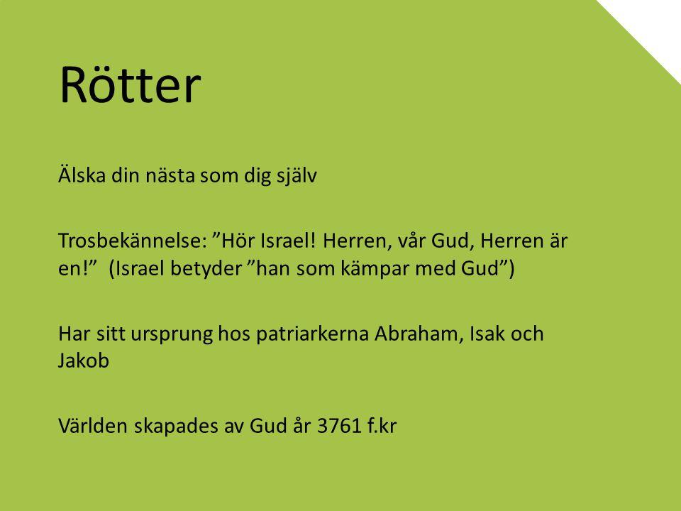 """Rötter Älska din nästa som dig själv Trosbekännelse: """"Hör Israel! Herren, vår Gud, Herren är en!"""" (Israel betyder """"han som kämpar med Gud"""") Har sitt u"""