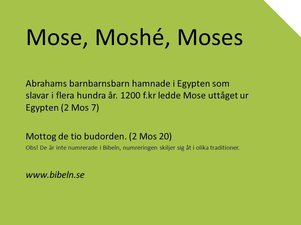 Mose, Moshé, Moses Abrahams barnbarnsbarn hamnade i Egypten som slavar i flera hundra år. 1200 f.kr ledde Mose uttåget ur Egypten (2 Mos 7) Mottog de