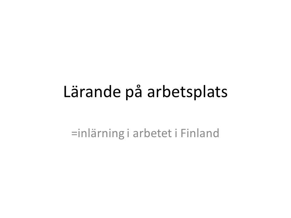 Lärande på arbetsplats =inlärning i arbetet i Finland