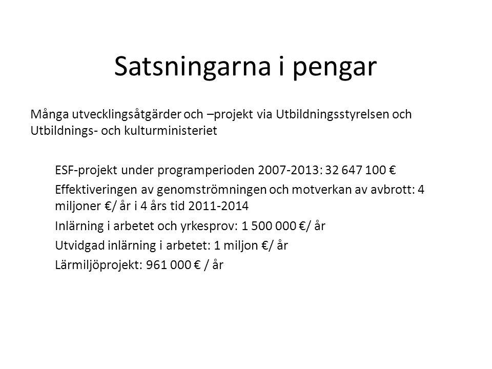 Satsningarna i pengar Många utvecklingsåtgärder och –projekt via Utbildningsstyrelsen och Utbildnings- och kulturministeriet ESF-projekt under program