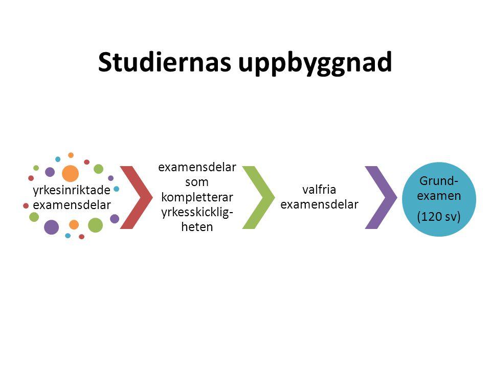 Studiernas uppbyggnad yrkesinriktade examensdelar examensdelar som kompletterar yrkesskicklig- heten valfria examensdelar Grund- examen (120 sv)