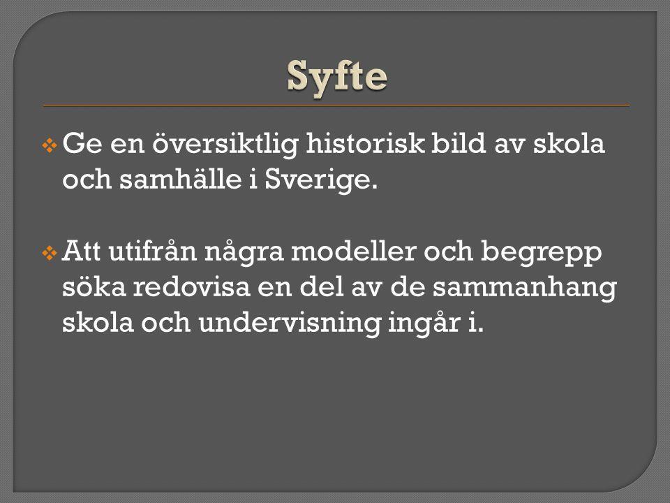  Ge en översiktlig historisk bild av skola och samhälle i Sverige.  Att utifrån några modeller och begrepp söka redovisa en del av de sammanhang sko