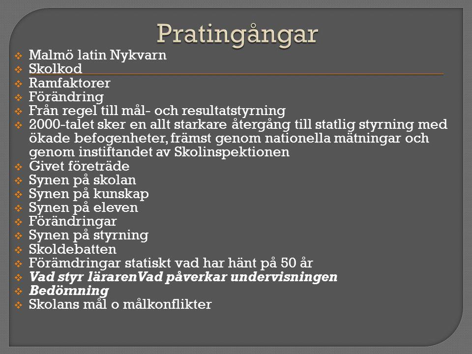  Malmö latin Nykvarn  Skolkod  Ramfaktorer  Förändring  Från regel till mål- och resultatstyrning  2000-talet sker en allt starkare återgång til