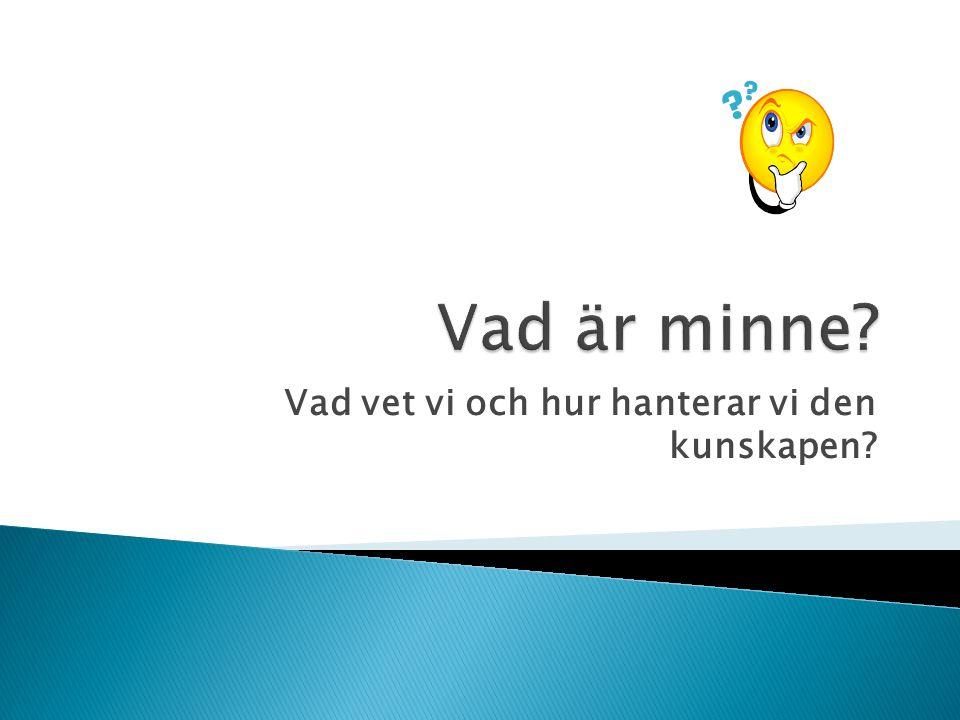  Klingberg, Torkel: Den översvämmade hjärnan (2007)  Klingberg, Torkel: Den lärande hjärnan (2011)  Derwinger, Anna: Minnets möjligheter  Adler, Holmgren: Neuropedagogik (2000)  Wallenkrans, Pia: Lär in (2000)  Lorayne, Harry: Minnesteknik (1992)  Wejlid, Gabriella: Ja tack, hjärna (2008)  Schacter, D: Sökandet efter minnet (2004)  Tammet, D :Född en blå dag (2006)
