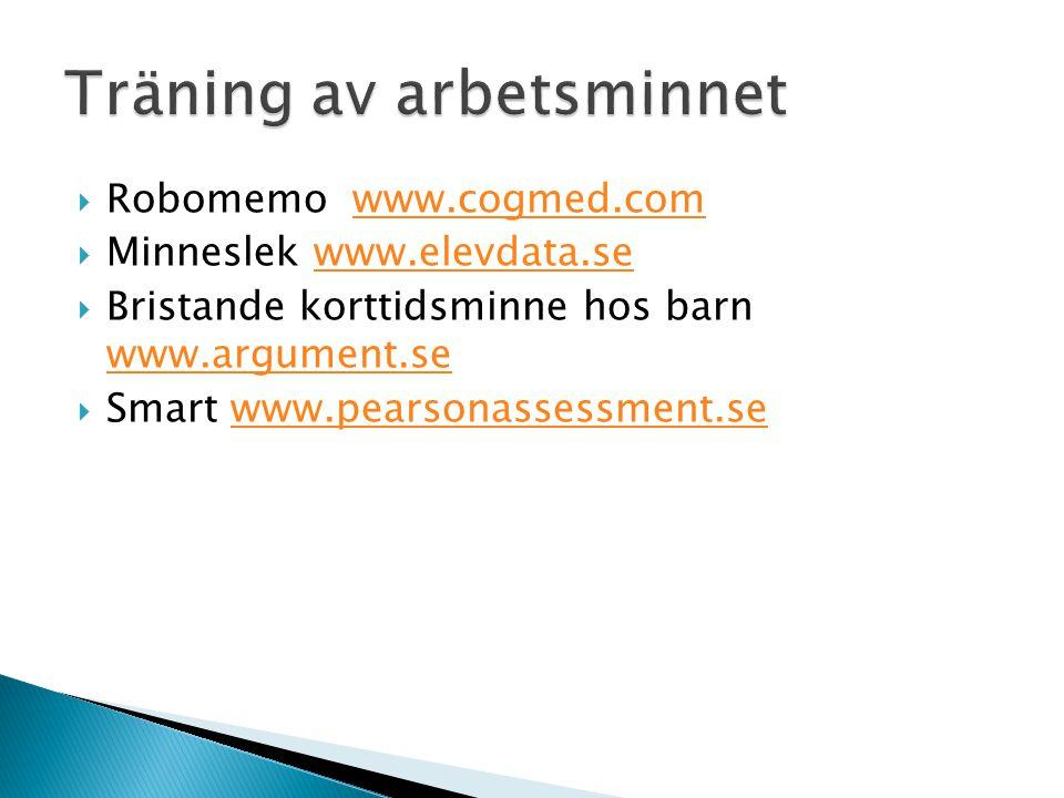  Robomemo www.cogmed.comwww.cogmed.com  Minneslek www.elevdata.sewww.elevdata.se  Bristande korttidsminne hos barn www.argument.se www.argument.se