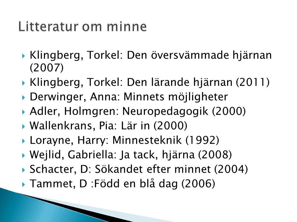  Klingberg, Torkel: Den översvämmade hjärnan (2007)  Klingberg, Torkel: Den lärande hjärnan (2011)  Derwinger, Anna: Minnets möjligheter  Adler, H
