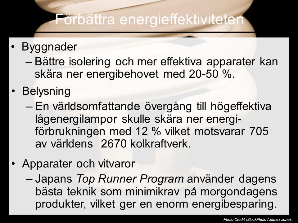Förbättra energieffektiviteten •Byggnader –Bättre isolering och mer effektiva apparater kan skära ner energibehovet med 20-50 %.