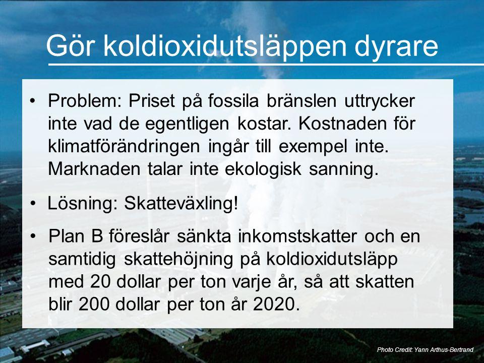 Gör koldioxidutsläppen dyrare •Problem: Priset på fossila bränslen uttrycker inte vad de egentligen kostar. Kostnaden för klimatförändringen ingår til