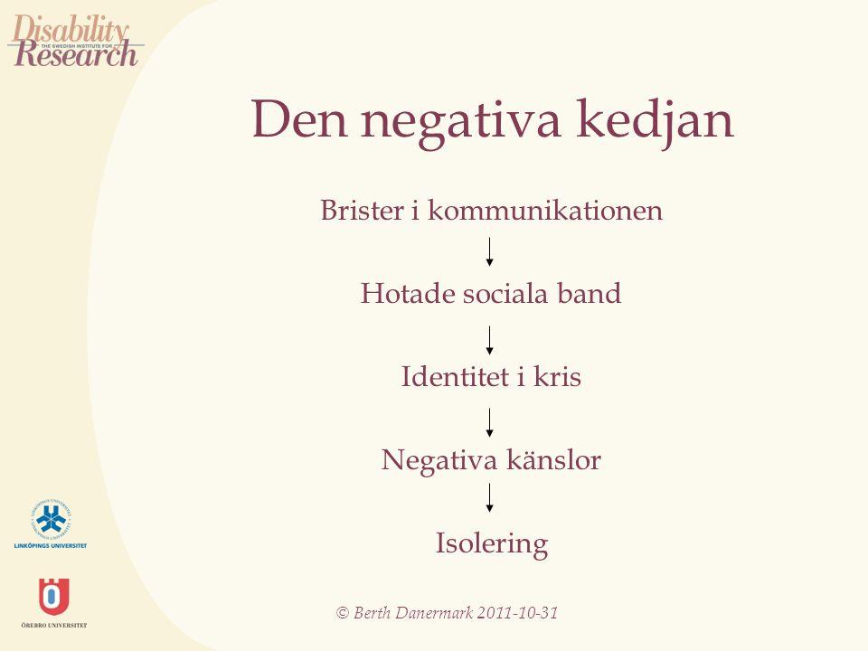 © Berth Danermark 2011-10-31 Den negativa kedjan Brister i kommunikationen Hotade sociala band Identitet i kris Negativa känslor Isolering
