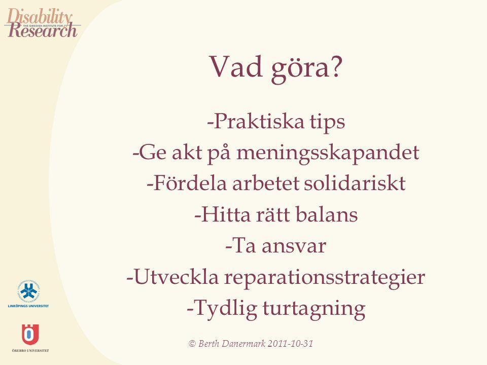 © Berth Danermark 2011-10-31 Vad göra.