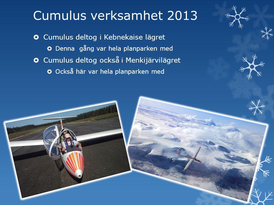 Cumulus verksamhet 2013  Cumulus deltog i Kebnekaise lägret  Denna gång var hela planparken med  Cumulus deltog också i Menkijärvilägret  Också hä