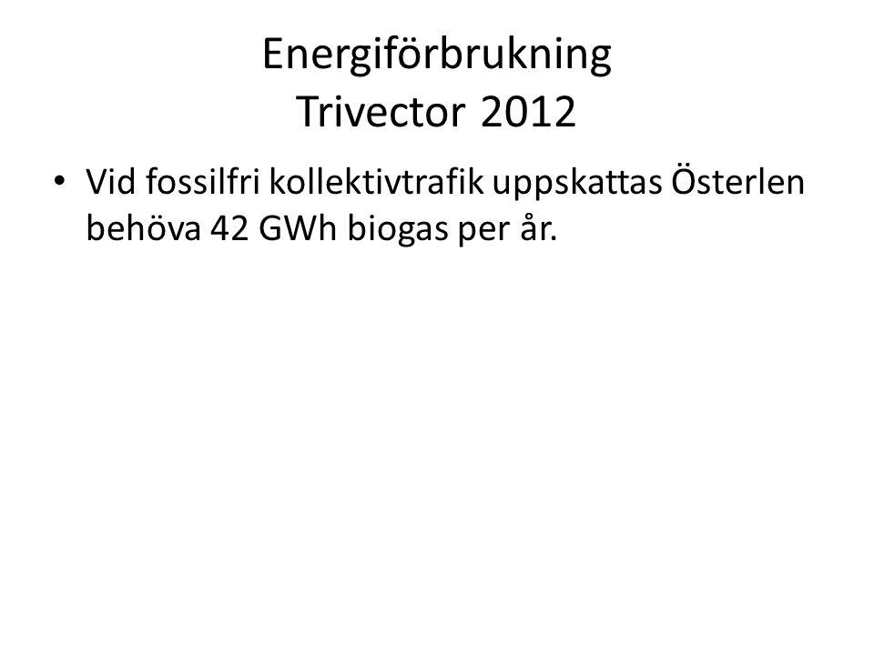 Energiförbrukning Trivector 2012 • Vid fossilfri kollektivtrafik uppskattas Österlen behöva 42 GWh biogas per år.