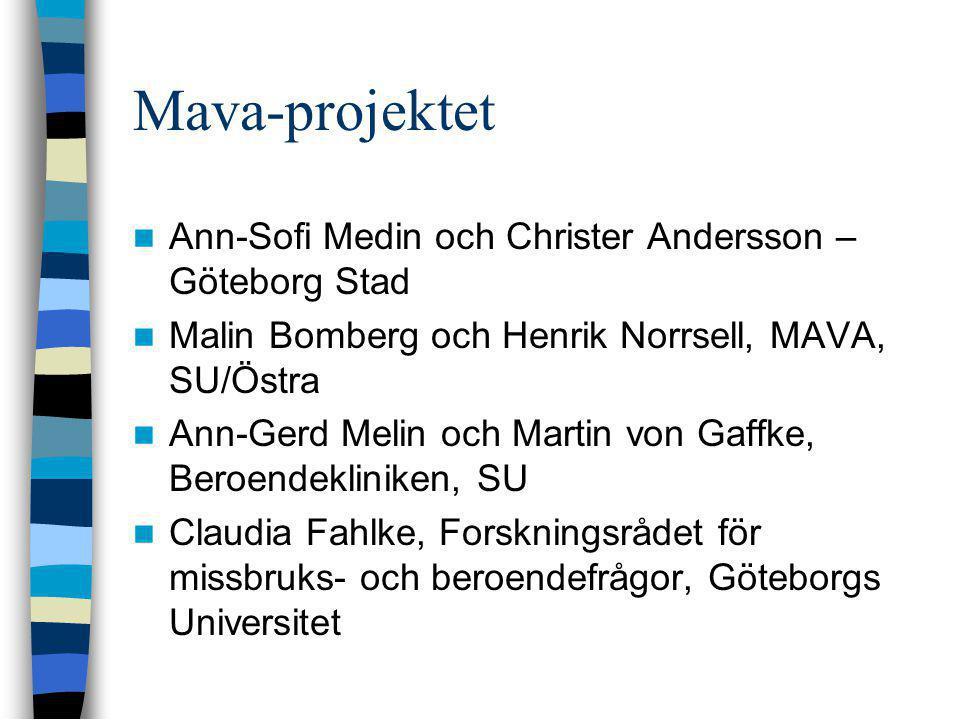 Mava-projektet  Ann-Sofi Medin och Christer Andersson – Göteborg Stad  Malin Bomberg och Henrik Norrsell, MAVA, SU/Östra  Ann-Gerd Melin och Martin