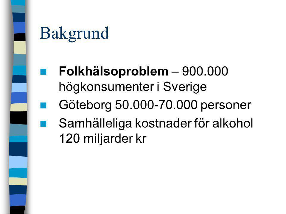 Bakgrund  Folkhälsoproblem – 900.000 högkonsumenter i Sverige  Göteborg 50.000-70.000 personer  Samhälleliga kostnader för alkohol 120 miljarder kr