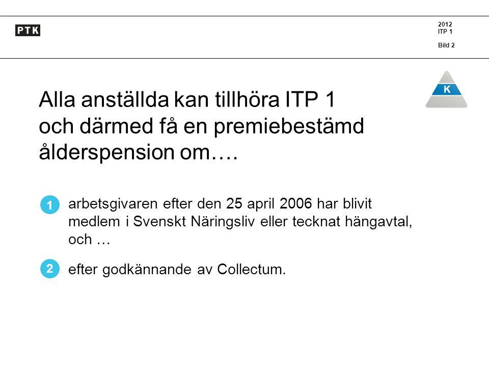 2012 ITP 1 Bild 2 K Alla anställda kan tillhöra ITP 1 och därmed få en premiebestämd ålderspension om…. arbetsgivaren efter den 25 april 2006 har bliv