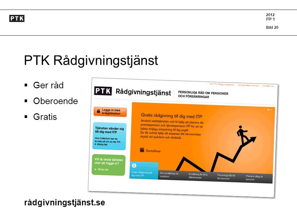 2012 ITP 1 Bild 20 K PTK Rådgivningstjänst  Ger råd  Oberoende  Gratis rådgivningstjänst.se