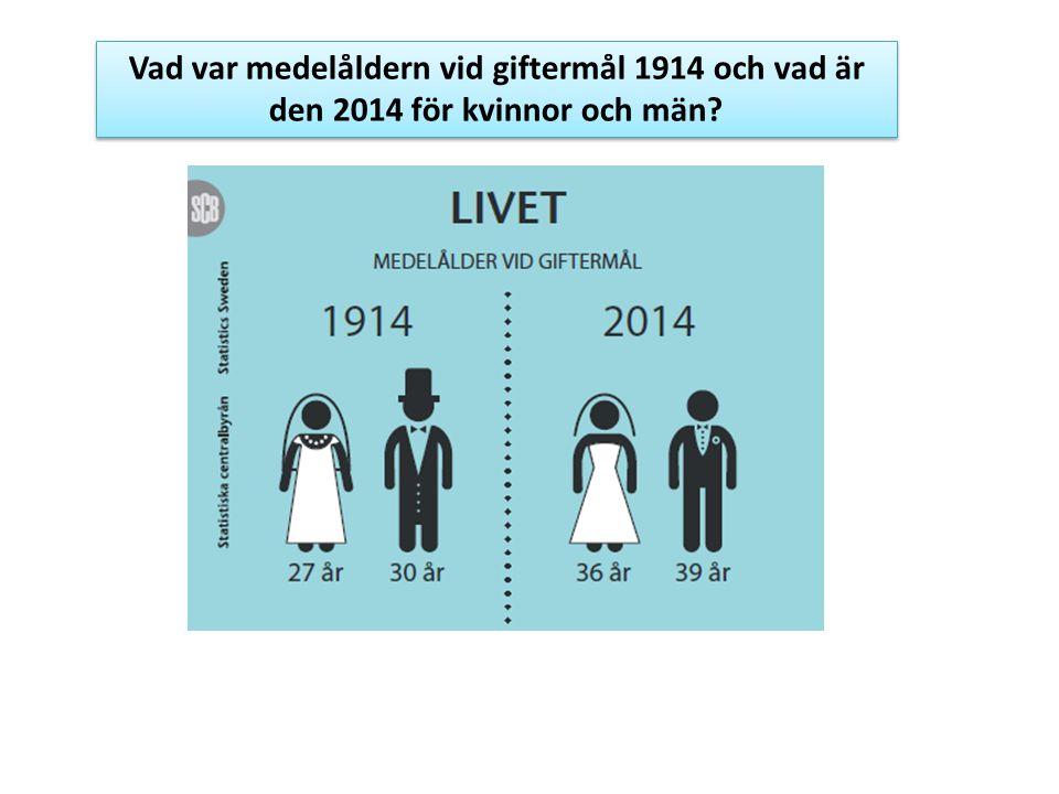Vad var medelåldern vid giftermål 1914 och vad är den 2014 för kvinnor och män?