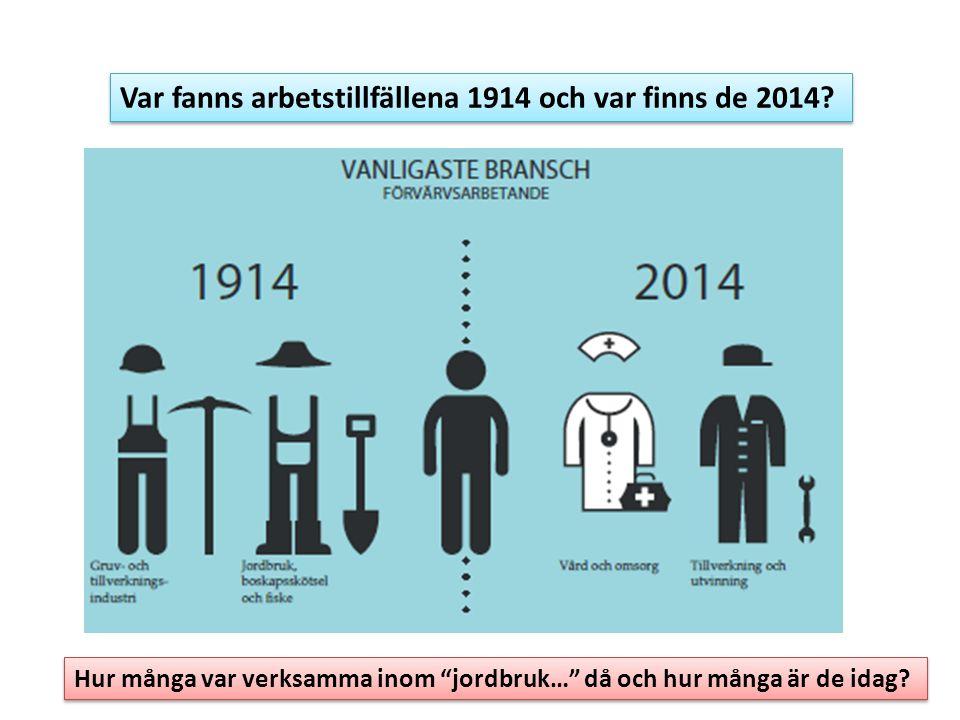 """Var fanns arbetstillfällena 1914 och var finns de 2014? Hur många var verksamma inom """"jordbruk…"""" då och hur många är de idag?"""
