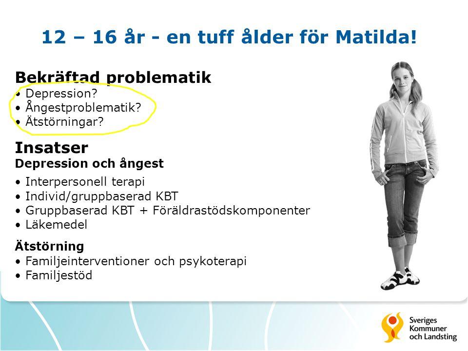 12 – 16 år - en tuff ålder för Matilda! Bekräftad problematik • Depression? • Ångestproblematik? • Ätstörningar? Insatser Depression och ångest • Inte