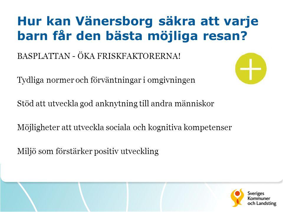 Hur kan Vänersborg säkra att varje barn får den bästa möjliga resan? BASPLATTAN - ÖKA FRISKFAKTORERNA! Tydliga normer och förväntningar i omgivningen