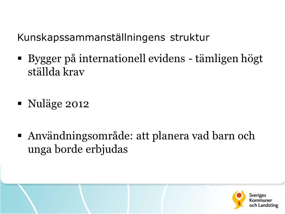 Kunskapssammanställningens struktur  Bygger på internationell evidens - tämligen högt ställda krav  Nuläge 2012  Användningsområde: att planera vad
